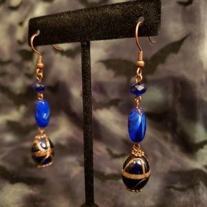 Jewelry - Cleopatra Cobalt Blue Blown Glass Earrings